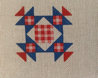 Gingham quilt design for you to needlepoint