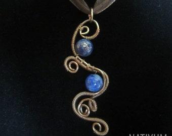 Lazurite Necklace, Wire Wrapped Jewelry