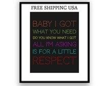 RESPECT / Aretha Franklin - Song Lyric Art Poster, Rhythm and blues, soul music, motown, R & B, lyric print, wall art, inspirational