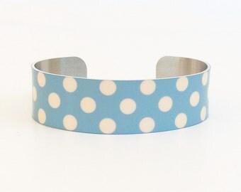 Polka Dots Bracelet - Dots Narrow Cuff Bracelet - Cuff Jewelry - Modern Bracelet - Polka Dots Jewelry - Cuff Bracelet