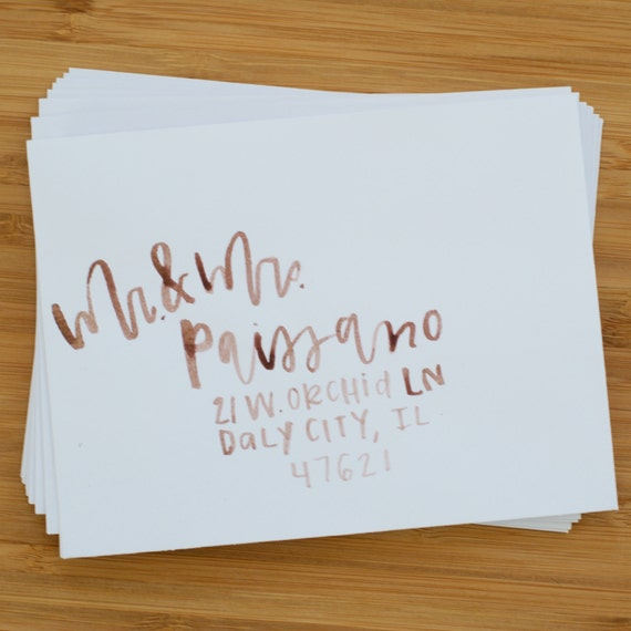 Sample pack modern calligraphy wedding envelope addressing
