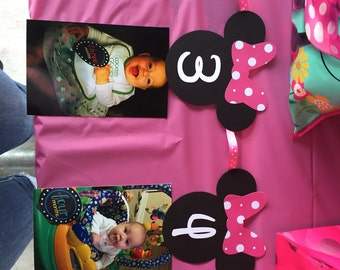 NB-12 month photo Minnie Mouse themed banner
