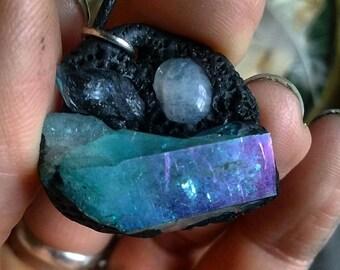 Deep in the sea 🌙 aqua aura quartz and rainbow moonstone necklace