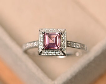 Pink tourmaline ring, square cut ring, tourmaline ring, natural tourmaline ring