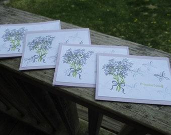 Friend to Friend-- lilac bouquet friendship cards set of 4