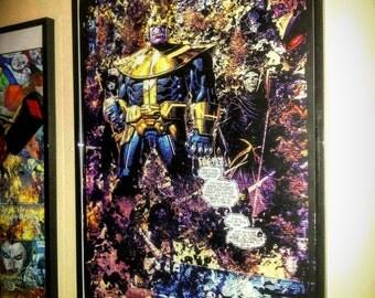 Comic Book Art / Thanos / Superhero Wall Art / Comic Art / Superhero Decor / Comic Book Gift / Superhero Gift / Comic Book Print Set