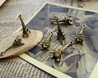 5 Eiffel Tower Charms Antique Bronze Tone - WS423