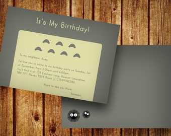 Totoro Themed Party Invites