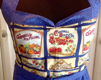 Vintage  full apron shabby retro chic Campbell's theme