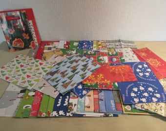 Vintage Holiday Wrapping Paper and Tags - 96 Pieces