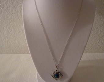 """Vintage Stunning Pewter """"Whales Circling Planet Earth"""" Necklace"""