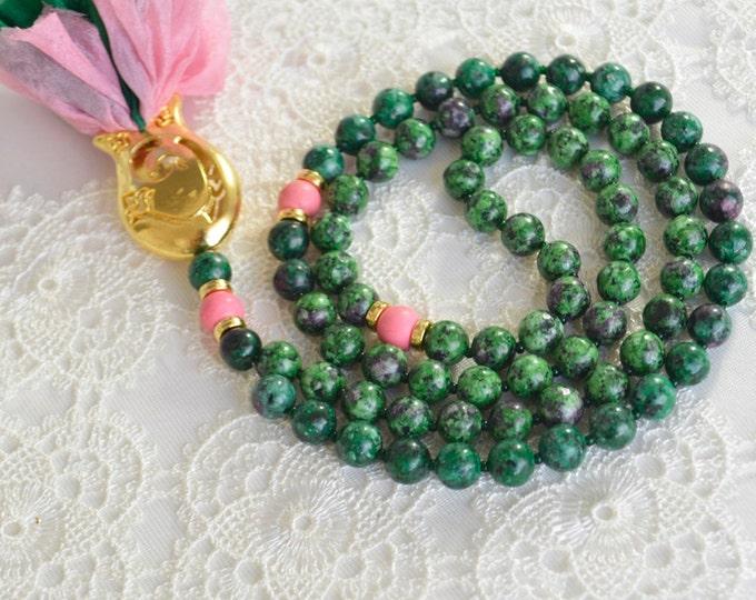 tulip silk green islamic rosary necklace, paternoster, tasbih ,tesbih, tespih, tasbeeh, mala, sibha, misbaha, misbah, dikr. zikr beads,pray