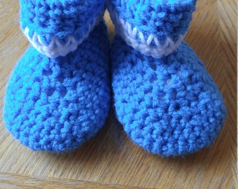 Crocheted Blue Baby Booties