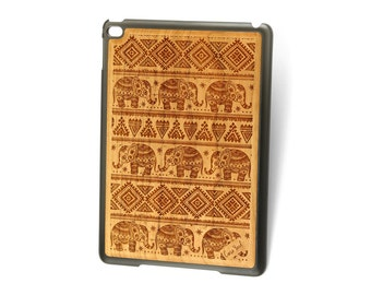 iPad Air case,iPad Mini case,iPad Mini 2 case,iPad 3 case, iPad engraved case, custom iPad case, iPad 3 Elephant Pattern wood engraved case,
