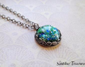 Green Opal silver necklace, Green Fire Opal Romantic necklace, Green Opal necklace, Green Opal jewelry