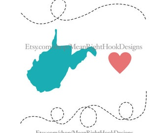 West Virginia SVG, state svg, silhouette, heart, and dotted lines INSTANT DOWNLOAD vector files for cutting machines - svg, png, dxf, eps