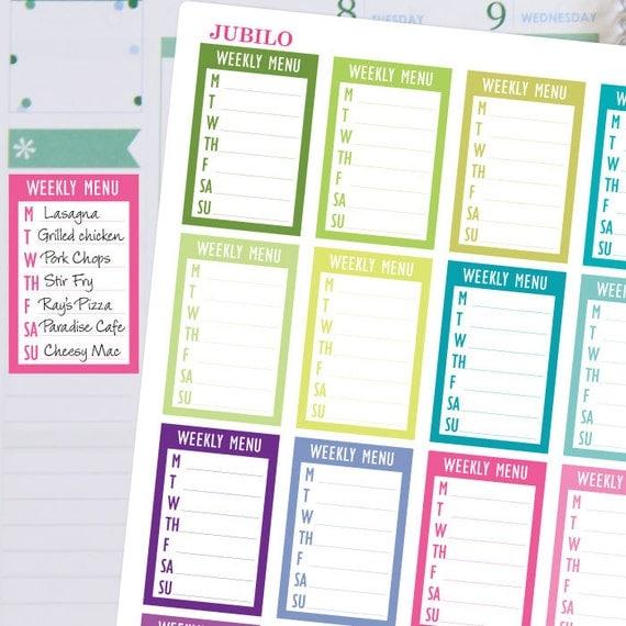 planner stickers weekly menu sidebar sticker fits erin