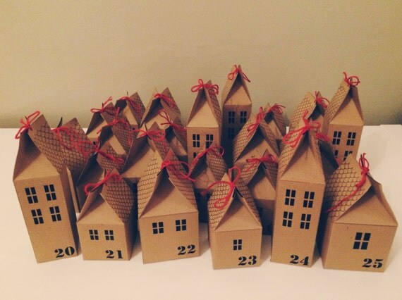 Advent Calendar Diy Kit : Diy advent calendar houses kit by headintclouds on etsy