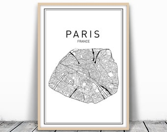 Paris Map Print, City Map Wall Art, Paris Map Art, France City, France Map Print, Paris Map Printable, City Map Printable, Map Wall Art