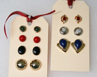 Vintage earrings; 8 pair vintage earrings; vintage earring collection