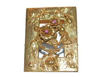 Miriam Haskell layered brooch pin, Miriam Haskell open work repousse brooch pin