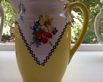 Gorgeous Yellow Floral Pitcher by BCM Nelson Ware Made in England