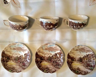 """JOHNSON BROS. """"Olde Engligh Countryside"""" Pattern -- 3 Cups and Saucers!"""