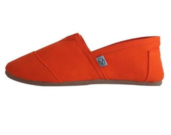Orange espadrilles handmade traditional