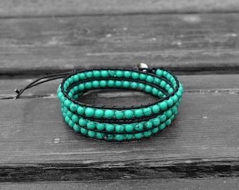 Turquoise Bracelet Leather Wrap Bracelet Turquoise Leather Bracelet 5mm Stones Bracelet