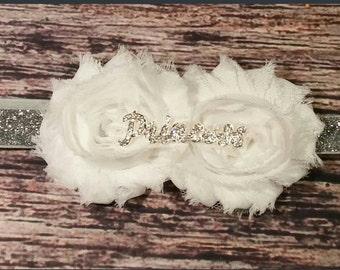 White Princess Baby Girl Headband / Baby Headband / White Headband / Princess Headband / Shabby Headband / Glitter Headband / Rhinestone