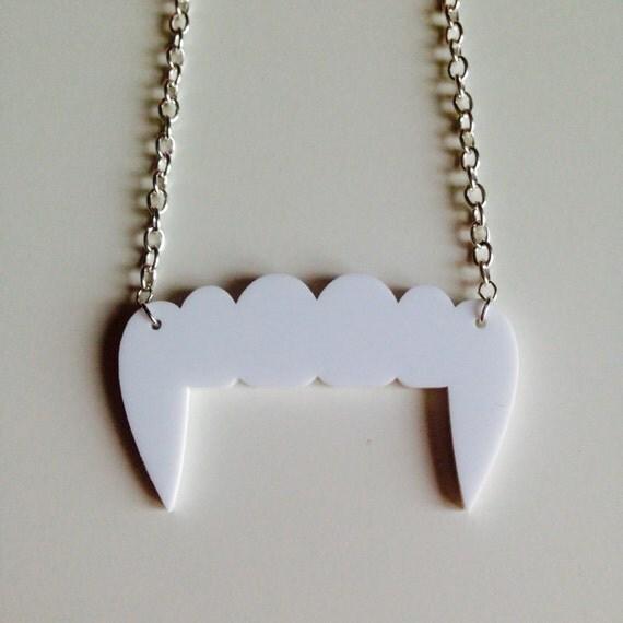 Vampire Fangs Twilight Halloween Laser Cut Acrylic Necklace