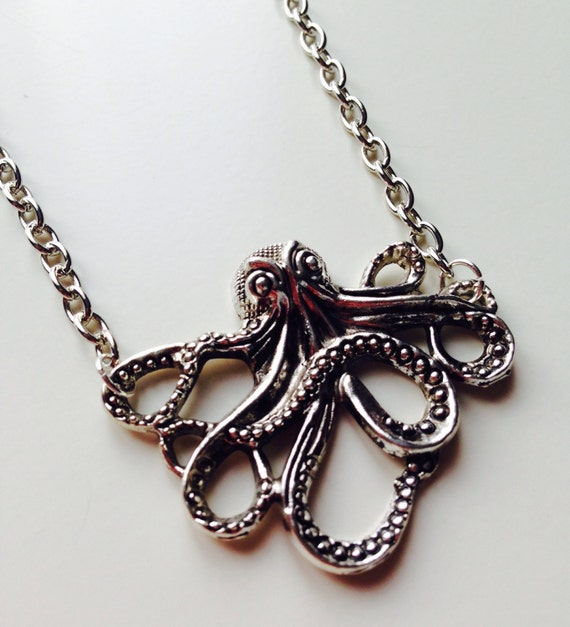 Octopus | Squid | Cut Out | Nautical | Navy | Tentacles | Necklace