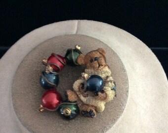 Vintage Christmas Teddy Bear Pin