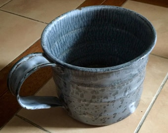 Vintage, rare, pre- 1870's 1 Quart measuring Mottled Grey Enamel Cup from Fort Steele, B.C. Canada.
