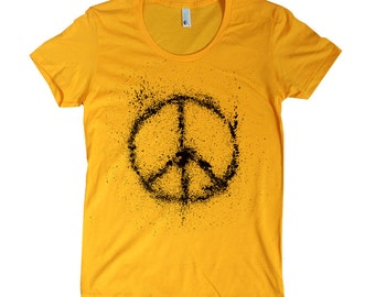Women's Peace Sign American Apparel t shirt - 16 Colors available - sizes S M L XL