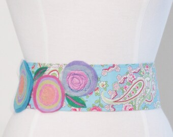 fabric flower belt, fabric belt, floral belt, handmade flower applique belt, flower applique, flower belt, floral sash, flower sash