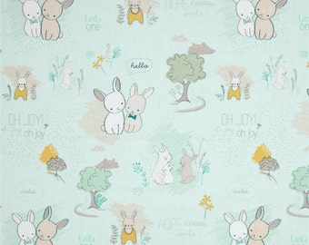 Mint Littlest Baby Crib Fitted Sheet, littlest, mint, peach, dandelions, bunny , baby, fitted sheet, custom sheet
