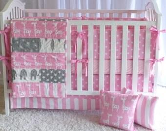 Giraffes on Pink and Grey, modern nursery, safari, elephants, giraffe,  girl nursery, crib bedding, crib set, fitted sheet, customer bedding