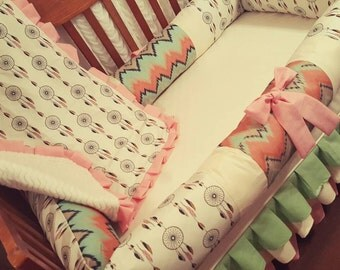 Dream catcher crib bedding for standard crib, mini crib or round crib