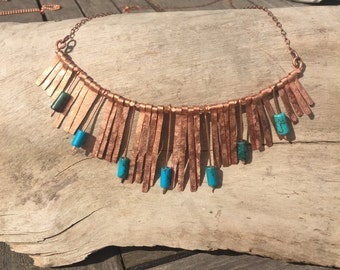 Copper and Turquoise Bib Necklace