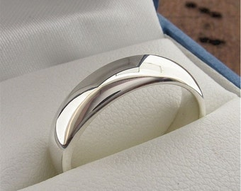 Wedding Ring, 5mm court profile in 9ct white gold, polished finish, made to order