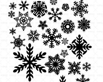 Snowflakes SVG files, 28 Snowflakes vector designs, 1 PNG 300dpi  instant download, Winter Vector,  Id#H5