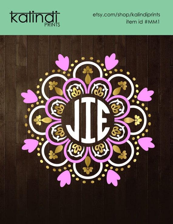 Download 3 colors Mandala Monogram frame mandala svg svg file svg