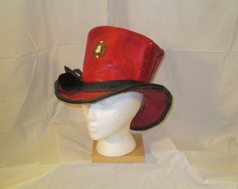 Leather steampunk tophat