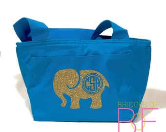 GLITTER Monogrammed Insulated Lunch Bag