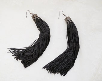 Black Tassel Earrings Fringe Earrings Festival Earrings Fringe Jewelry Eco Friendly Extra Long Evening Earrings Original Gift High Fashion