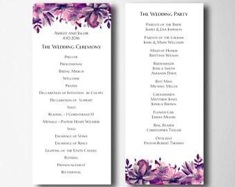 Boho chic wedding programs Purple programs printable Wedding lavender programs diy Cottage chic wedding Ceremony programs template 1W63