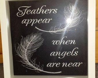 Angel and Feathers embroidered picture