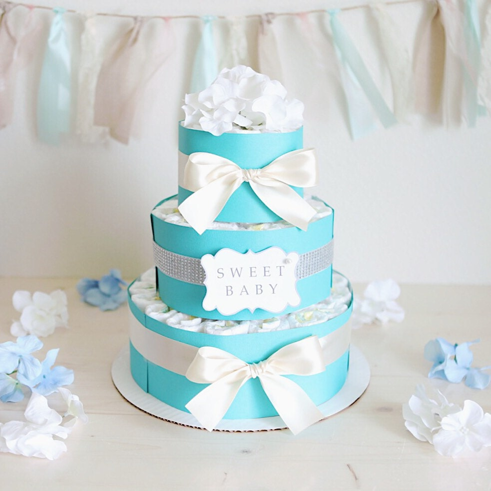 Baby girl mint blue diaper cake baby shower centerpiece for Baby shower diaper decoration