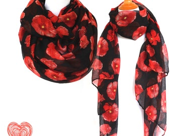 Floral Infinity Scarf, Red and Black Woman Scarves, Red Poppy Flower Scarf, Fashion Loop Scarf, Women Fashion Accessories, Gifts For Her